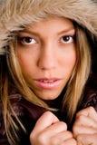 coat her holding portrait winter woman young Στοκ εικόνα με δικαίωμα ελεύθερης χρήσης