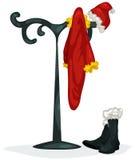Coat rank with santa clothes Royalty Free Stock Photos