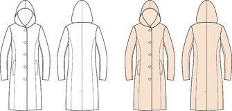 Coat. Vector illustration of women`s overcoat with hood. Front and back Royalty Free Stock Photo