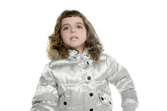 Coat winter silver with little beautiful girl Stock Photography