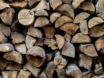 Coated dry firewood. This is a photo on a pile of coated dry firewood. The pictur was made from a medium distance from the object stock photography