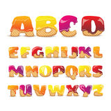Coated Wafers Sweet Alphabet Letters Set. Coated waffles latin letters sweet alphabet with fruit flavor funny colorful pictograms collection poster abstract Stock Photos