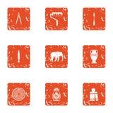 Coating icons set, grunge style. Coating icons set. Grunge set of 9 coating vector icons for web isolated on white background vector illustration