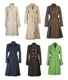 Coats. Six woman coats isolated on white background Royalty Free Stock Photos