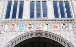 Coats of Arms above the entrance to Marischal College, Aberdeen, Stock Photos