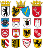 Coats of arms of cities in Germany. 1 Berlin Essen Bremen Stock Photo