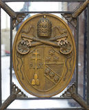 The coats of arms of the Holy See and Vatican City State sign royalty free stock image
