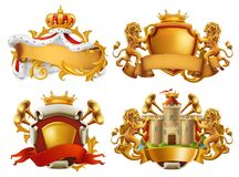 Coats of arms. King and kingdom. Vector emblem set. Coats of arms. King and kingdom. 3d vector emblem set Stock Image