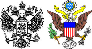 Coats of arms Russia and USA. The illustration US Emblem and  Russian two-headed eagle over the white background Royalty Free Stock Photo