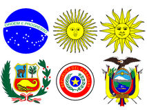 Coats of Arms of South America Flags Stock Images