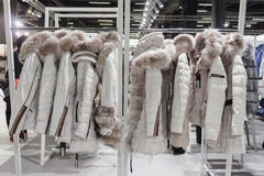 Coats on display at Mipap trade show in Milan, Italy Royalty Free Stock Photos