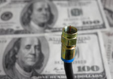 Coaxial cable and cash Royalty Free Stock Images