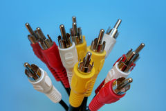 Coaxial cables. On blue Royalty Free Stock Photography