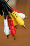 Coaxial cables. Close-up of tv coaxial cables Royalty Free Stock Image