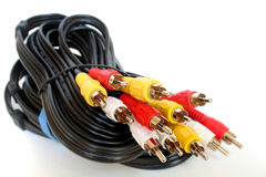 Coaxial cables. Tv coaxial cables Stock Photo