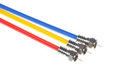 Coaxial cables with connectors Royalty Free Stock Images