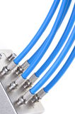 Coaxial cables with tv splitter Royalty Free Stock Photography