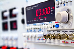 Coaxial connectors of laboratory generator. Coaxial connectors of laboratory function generator with frequency counter Royalty Free Stock Image