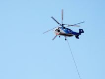 Coaxial rotored helicopter. Fire helicopter with twin coaxial rotor Royalty Free Stock Photo