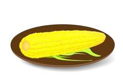 The cob corn on the plate. Vector illustration vector illustration