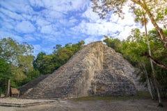 Tourists at ruins of Nohoch Mul Pyramid in Coba ancient Mayan city, Yucatan Mexico. COBA, MEXICO - FEBRUARY 3, 2016: Turists visiting the Nohoch Mul Pyramid in Stock Photos