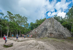 COBA, MEXICO - November, 13, 2013: Group of tourists, Nohoch Mul Stock Image