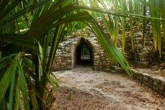 Coba Mexico, Yucatan: Det arkeologiska komplexet, fördärvar och pyramider i den forntida Mayan staden arkivbilder