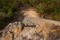 Coba, Mexico, Yucatan: top view of the jungle from the great pyramid of Coba Nohoch Mul.  Stock Photography