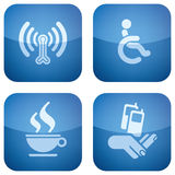 Cobalt 2D Squared Icons Set: Hotel. Various hotel icons: Wireless LAN with Internet access, Wheelchair Friendly Rooms, Cafe/Bistro, Mobile Phone Reception Stock Photography