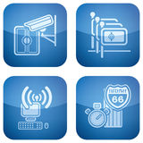 Cobalt 2D Squared Icons Set: Hotel Stock Image