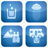 Cobalt 2D Squared Set: Camping. Various camping icons: Drinkable water, Shower, Nice Landscape View, Dumb Point Stock Photos