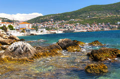Cobalt blue Aegean sea and mountains. Samos, Greece Royalty Free Stock Photography