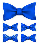 Cobalt blue bow tie with white dots realistic vector illustration. Set isolated on white background Stock Photo