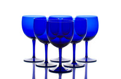 Cobalt blue glasses back lit Royalty Free Stock Photography