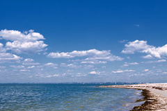 The cobalt blue sea and blue sky. Summer landscape with sea and blue sky Royalty Free Stock Images