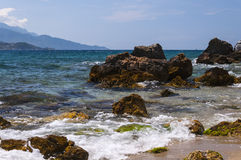 The cobalt blue sea and rocks of Samos Royalty Free Stock Photo