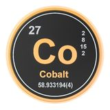 Cobalt Co chemical element. 3D rendering. Isolated on white background stock illustration