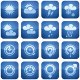 Cobalt Square 2D Icons Set Stock Photos