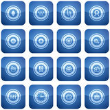 Cobalt Square 2D Icons Set Royalty Free Stock Images