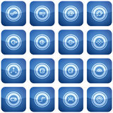 Cobalt Square 2D Icons Set Stock Photo