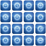 Cobalt Square 2D Icons Set Stock Photography