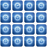 Cobalt Square 2D Icons Set Royalty Free Stock Photo