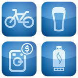 Cobalt Square 2D Icons Set Royalty Free Stock Photography