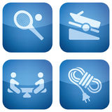 Cobalt Square 2D Icons Set Royalty Free Stock Image