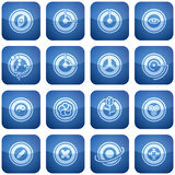 Cobalt Square 2D Icons Set: Abstract. Cobalt (blue) square icons in abstract form Royalty Free Stock Photography