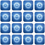 Cobalt Square 2D Icons Set: Abstract Royalty Free Stock Image