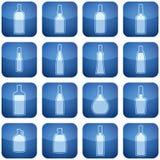Cobalt Square 2D Icons Set: Alcohol bottles Royalty Free Stock Photos