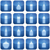 Cobalt Square 2D Icons Set: Alcohol bottles Stock Photo