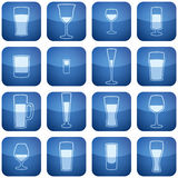 Cobalt Square 2D Icons Set: Alcohol glass Royalty Free Stock Photo