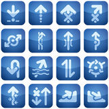 Cobalt Square 2D Icons Set: Arrows Royalty Free Stock Photos